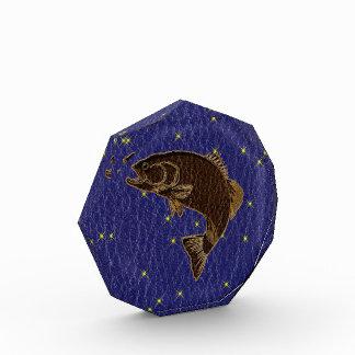 Leather-Look Native American Zodiac Salmon Acrylic Award