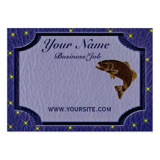 Leather-Look Native American Zodiac Salmon Business Cards