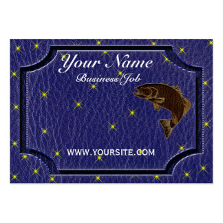 Leather-Look Native American Zodiac Salmon Business Card Template