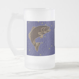 Leather-Look Native American Zodiac Salmon Frosted Glass Beer Mug