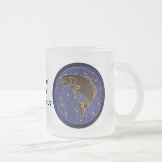 Leather-Look Native American Zodiac Salmon Frosted Glass Coffee Mug