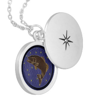 Leather-Look Native American Zodiac Salmon Locket Necklace