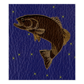 Leather-Look Native American Zodiac Salmon Posters