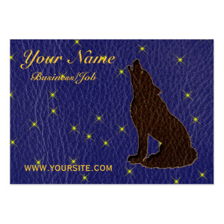 Leather-Look Native American Zodiac Wolf Business Card Templates
