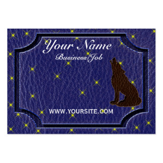 Leather-Look Native American Zodiac Wolf Business Cards