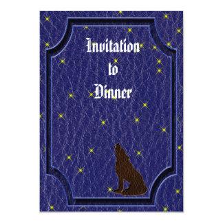 Leather-Look Native American Zodiac Wolf 5x7 Paper Invitation Card