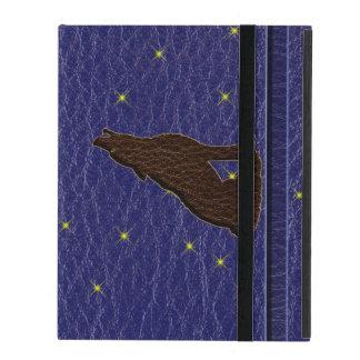 Leather-Look Native American Zodiac Wolf iPad Folio Case