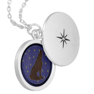Leather-Look Native American Zodiac Wolf Locket Necklace