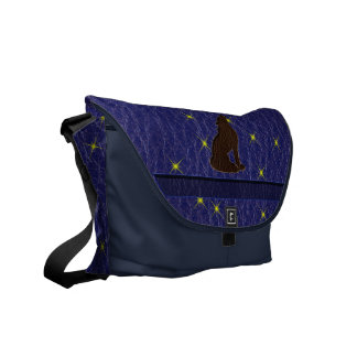 Leather-Look Native American Zodiac Wolf Messenger Bag