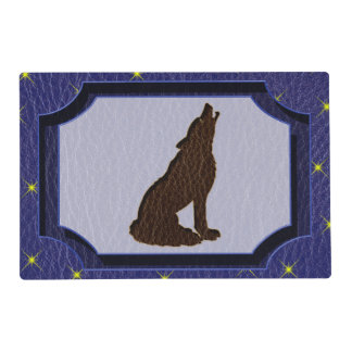 Leather-Look Native American Zodiac Wolf Placemat