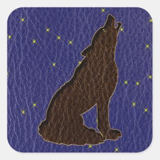Leather-Look Native American Zodiac Wolf Square Sticker