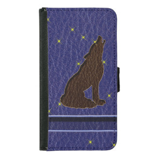 Leather-Look Native American Zodiac Wolf Wallet Phone Case For Samsung Galaxy S5