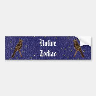 Leather-Look Native American Zodiac Woodpecker Car Bumper Sticker