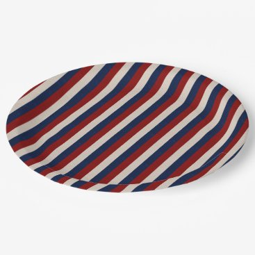 USA Themed LEATHER LOOK PATRIOTIC STRIPES-PAPER PLATES