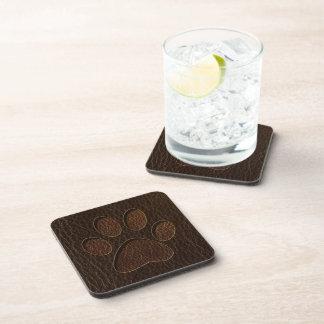 Leather-Look Paw Dark Beverage Coaster