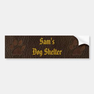 Leather-Look Paw Dark Bumper Sticker
