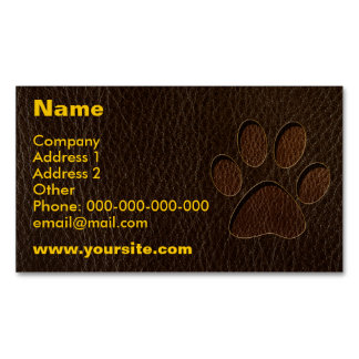 Leather-Look Paw Dark Business Card Magnet