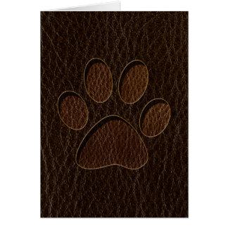 Leather-Look Paw Dark Card