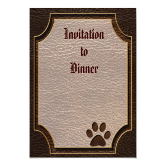 "Leather-Look Paw Dark 5"" X 7"" Invitation Card"