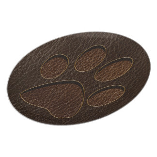 Leather-Look Paw Dark Melamine Plate