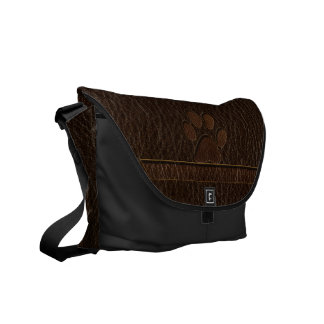 Leather-Look Paw Dark Messenger Bag