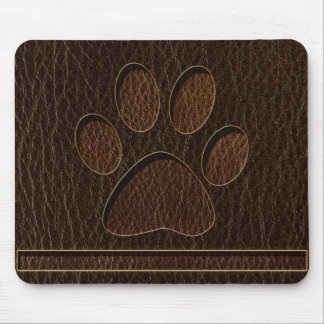 Leather-Look Paw Dark Mouse Pad