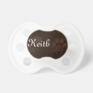 Leather-Look Paw Dark Pacifier