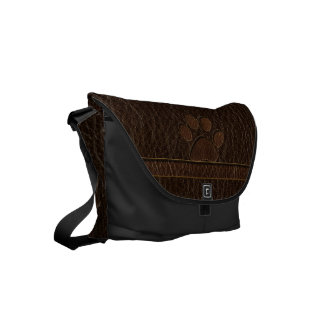 Leather-Look Paw Dark Small Messenger Bag