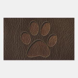 Leather-Look Paw Dark Rectangular Sticker