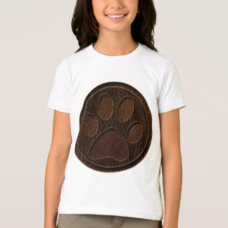 Leather-Look Paw Dark T-Shirt