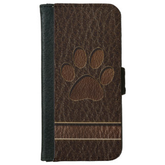 Leather-Look Paw Dark Wallet Phone Case For iPhone 6/6s