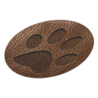 Leather-Look Paw Dinner Plate