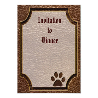 """Leather-Look Paw 5"""" X 7"""" Invitation Card"""