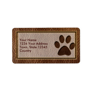 Leather-Look Paw Address Label