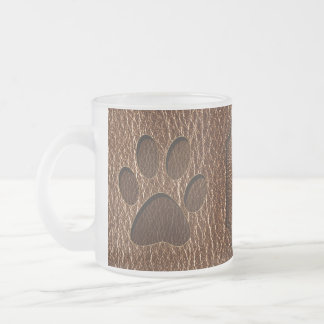 Leather-Look Paw 10 Oz Frosted Glass Coffee Mug