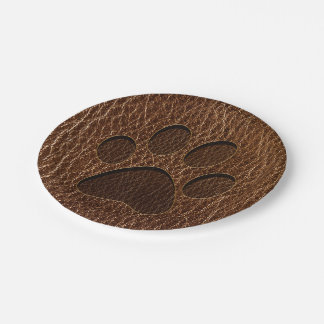 Leather-Look Paw Paper Plate