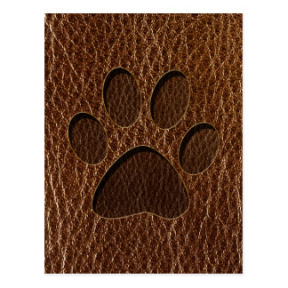 Leather-Look Paw Postcard