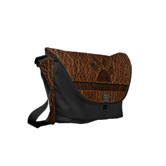 Leather-Look Paw Small Messenger Bag