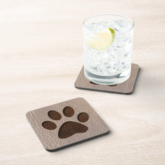 Leather-Look Paw Soft Beverage Coaster