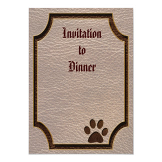"""Leather-Look Paw Soft 5"""" X 7"""" Invitation Card"""