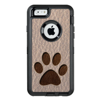 Leather-Look Paw Soft OtterBox Defender iPhone Case
