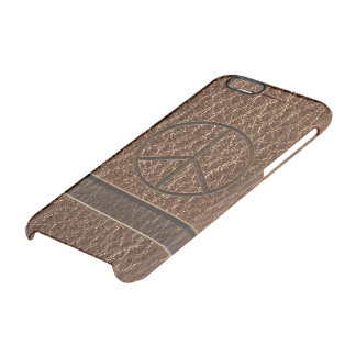 Leather-Look Peace Brown Clear iPhone 6/6S Case