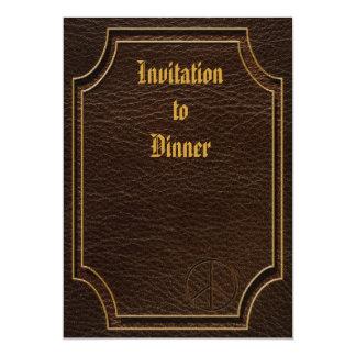 "Leather-Look Peace Brown Dark 5"" X 7"" Invitation Card"
