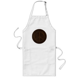 Leather-Look Peace Brown Dark Long Apron