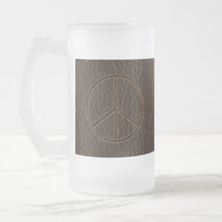 Leather-Look Peace Brown Dark 16 Oz Frosted Glass Beer Mug