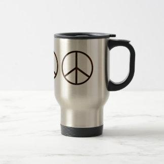 Leather-Look Peace Brown Dark 15 Oz Stainless Steel Travel Mug