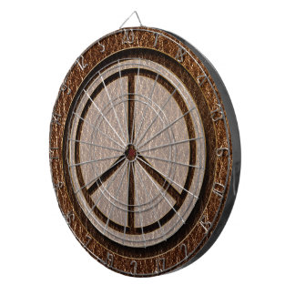 Leather-Look Peace Brown Dartboard With Darts