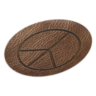 Leather-Look Peace Brown Dinner Plate