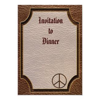 """Leather-Look Peace Brown 5"""" X 7"""" Invitation Card"""