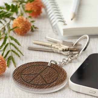 Leather-Look Peace Brown Keychain